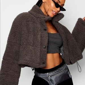 NWT Crop Fleece Oversized Puffer Jacket
